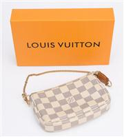 Sale 8640F - Lot 28 - A Louis Vuitton Mini Pochette accessories pouch in Damier Azur canvas leather (with dustbag and box), date code FL0058, H 10 x W 17cm