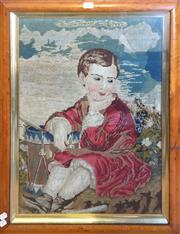 Sale 8666 - Lot 1089 - Victorian Needlework of a Drummer Boy, in his red tunic seated with his drum beside him, in a birdseye maple frame