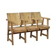 Sale 9087H - Lot 302 - A rustic three seater chair link teak bench, Height 90cm x Width 136cm x Depth 50cm