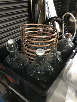 Sale 9101 - Lot 2139 - Copper Cooling Coil, Flagons, Corker, etc