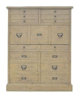 Sale 9140F - Lot 137 - Hardy Interiors original design. A solid timber bureau in smokehouse. Features 2 long thin document lined drawers. Drop front hides ...