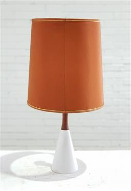 Sale 9151 - Lot 1073 - Vintage ceramic and teak table lamp with burnt orange shade (h73cm)
