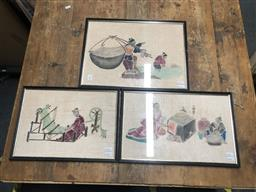 Sale 9152 - Lot 2068 - Group of (3) Chinese colour woodblock prints depicting Domestic Scenes, 33 x 44cm (largest) -