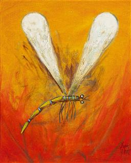 Sale 9216A - Lot 5057 - KYM HART (1965 - ) Dragonfly oil on canvas board 29.5 x 24.5 cm (frame: 42 x 37 x 2 cm) signed lower right