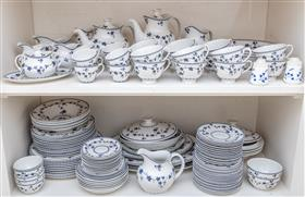 Sale 9195H - Lot 37 - An extensive Royal Doulton blue and white bone china dinner service in the York Town pattern