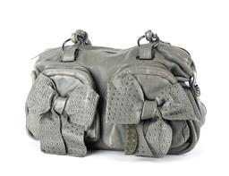 Sale 9253J - Lot 541 - A MIMCO GREY LEATHER BOW POCKET HANDBAG; twin front zip pockets attached with studded bows to twin double rolled handles and gun met...