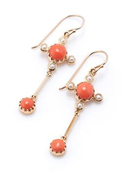 Sale 9221 - Lot 374 - A 9CT GOLD VICTORIAN STYLE CORAL AND PEARL EARRINGS; each a round cabochon coral to 4 seed pearls suspending a further coral drop on...