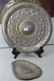 Sale 7950 - Lot 5 - Silver Tray in Shape of Sri Lanka and a Round Tray with Embossed Animals