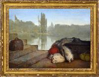 Sale 8392H - Lot 36 - European School - Waiting for the boat 32.5 x 44cm