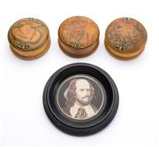 Sale 8528A - Lot 29 - Three timber containers depicting three land masses of the world, each D 6cm, together with a framed circular pencil sketch of Shake...