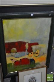 Sale 8537 - Lot 2054 - S. Phillis, Young Love, oil on board, frame size: 88 x 72cm, signed lower left