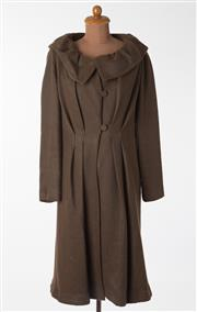 Sale 8550F - Lot 176 - A Bianca Spender cotton blend long brown and black  striped coat with oversized collar, tapered waist, comes with a spare button, si...