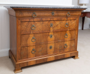 Sale 8677B - Lot 913 - A continental walnut four drawer commode with black marble top, H x 94cm, W x 13cm, D x 60cm