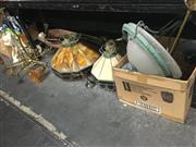 Sale 8759 - Lot 2446 - 6 Hanging Lights incl Hand Painted Example & Leadlight