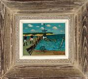 Sale 8947A - Lot 5099 - Artist Unknown - Jetty Scene with Two Figures and Moored Boats 14 x 19.5 cm (frame: 35 x 40 x 3 cm)