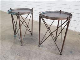 Sale 9121 - Lot 1048 - Pair of brass based timber top side tables with grapevine motifs (h:60 x d:45cm)