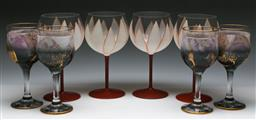 Sale 9144 - Lot 410 - Set of four hand painted floral themed wine glasses (H:18cm) together with a set of 4 others (H:16.5cm)