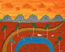 Sale 9244A - Lot 5040 - ELAINE RUSSELL (1941 - ) Weekend Camp, 2007 acrylic on canvas (unframed) 39 x 49 cm signed and dated lower right