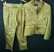 Sale 7982B - Lot 100 - Chanel, gold and jewelled pant suit (Size 40)