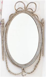 Sale 8550H - Lot 206 - A French mirror of oval form with classical design plaster frame, total H 80cm