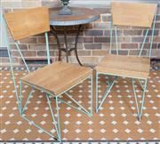 Sale 8530A - Lot 338 - A pair of modernist style metal and timber chairs