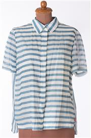 Sale 8550F - Lot 186 - An Easton Pearson 100% cotton blue and white striped short sleeve shirt with white cotton lining, size M.