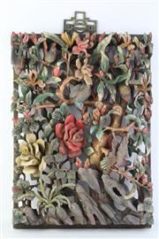 Sale 8806 - Lot 85 - A Chinese Puzzle Wood Plaque, Birds in the Forest, 30cm x 42cm