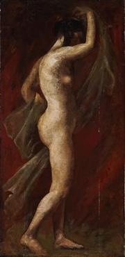 Sale 8916 - Lot 528 - Attributed to William Etty (1787 - 1849) - Untitled (Standing Nude) 53 x 28 cm