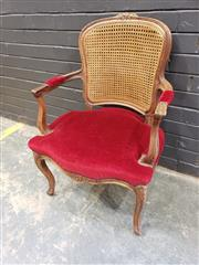 Sale 8993 - Lot 1034 - Louis XV Style Walnut Armchair, with caned back & red velvet upholstered seat, on cabriole legs (H: 88 x W: 61cm)