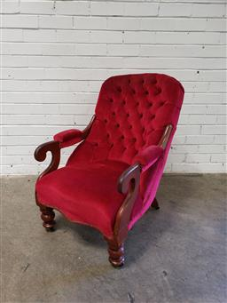 Sale 9102 - Lot 1096 - 19th Century Cedar Armchair, upholstered in red buttoned velvet, with scrolled arms & turned legs (h:87 x w:64 x d:90cm)