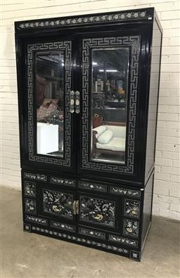 Sale 9121 - Lot 1088 - Mother-of-Pearl inlay Chinese cabinet with two mirrored doors & two doors below (h:203 w:122 d:62cm)