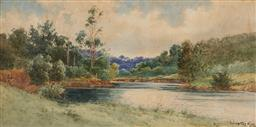 Sale 9150A - Lot 5063 - GLADSTONE EYRE (1863 - 1933) The River Bend, Sketch watercolour 36 x 73 cm (frame: 75 x 110 x 4 cm) signed lower right