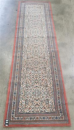 Sale 9188 - Lot 1443 - Persian pink, blue and cream tone hall runner (296cm x 80cm)