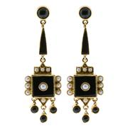 Sale 7995 - Lot 309 - A PAIR OF 9CT GOLD ONYX AND SEED PEARL EARRINGS; drop earrings in the Victorian style set with onyx and seed pearls to post and butt...