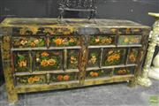 Sale 8307 - Lot 1004 - Rustic 4 Drawer Two Door Sideboard with Painted Floral Motif