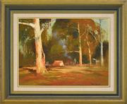 Sale 8325 - Lot 533 - Colin Parker (1941 - ) - Fossickers Camp, Turon River, NSW 45 x 60cm