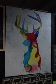 Sale 8569 - Lot 2069 - Stags Head Image on Unframed Canvas