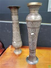 Sale 8637 - Lot 1011 - Pair Of Tall Etched Brass Vases (H:55cm)