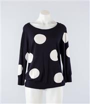 Sale 8760F - Lot 55 - A Sportscraft cotton/cashmere blend black and white polka-dot jumper, approx size M