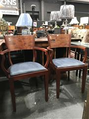 Sale 8787 - Lot 1073 - Pair of Timber Carver Chairs with Upholstered Seat