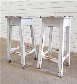 Sale 9102 - Lot 1291 - Pair of rustic timber framed bar stools (h:66cm)