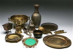 Sale 9144 - Lot 127 - A large collection of brass items including vase,