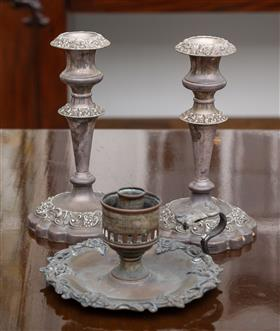 Sale 9195H - Lot 96 - A pair of old Sheffield plate candlesticks together with a plated chamber stick