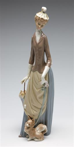 Sale 9253 - Lot 200 - A Lladro lady with chihuahua and parasol figurine (H:35.5cm)