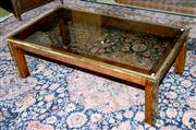 Sale 8015A - Lot 10 - A timber and brass glass top coffee table ex Design Warehouse