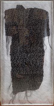 Sale 8308A - Lot 228 - Jill Ferrall, Untitled work, hand lettering recounting the distress of women transported to Tasmania. Mixed Media on Fabric, 160 x 80cm