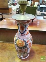 Sale 8444 - Lot 1035 - Chinoiserie Porcelain Vase Converted to Lamp, in Imari palette & figural panel