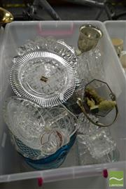 Sale 8495 - Lot 2100 - Box of Glasswares, mostly glass platters incl Mikasa and Decanters