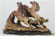 Sale 8546 - Lot 48 - Chinese Carved Soapstone Group of Rearing Horses on Timber Stand