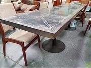 Sale 8566 - Lot 1053 - Metal Clad Dining Table over Twin Pedestal Base (77.5 x 70 x 300)